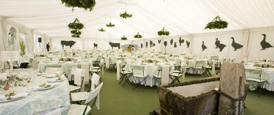 Réception privée avec vélum, moquette décoration de tables, 15mx20m, 180 personnes