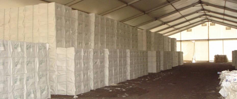 Stockage industriel avec structure de 20mx50m avec entoilage
